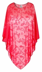 Red Floral Scroll Sheer Plus Size Supersize Poncho