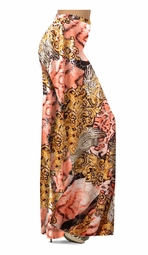 SOLD OUT! Gold & Salmon Fancy Print With Silver Shiny Metallic Print Slinky Special Order Customizable Plus Size & Supersize Pants, Capri's, Palazzos or Skirts! Lg to 9x