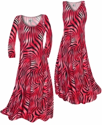 SOLD OUT! Scarlet Red Ombre Zebra Stripes Slinky Print Plus Size & Supersize Standard or Cascading A-Line or Princess Cut Dresses & Shirts, Jackets, Pants, Palazzo's or Skirts Lg to 9x