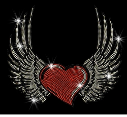 SALE! Red Heart With Wings Sparkly Rhinestuds Plus Size & Supersize T-Shirts S M L XL 2x 3x 4x 5x 6x 7x 8x 9x (All Colors)