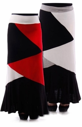 SOLD OUT! Red, Ivory, & Black, or Gray, Black, & Ivory Colorblock Plus Size Maxi Skirt