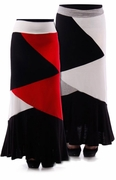 SALE! Red, Ivory, & Black, or Gray, Black, & Ivory Colorblock Plus Size Maxi Skirt 4x 5x 6x