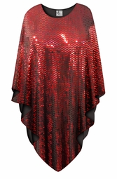 Sparkling Red Moon Print Plus Size Supersize Poncho