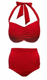 NEW! Red 2 Piece Halter Swimsuit Plus Size Supersize 0x 1x 2x 3x 4x 5x 6x 7x 8x