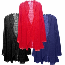 Customizable Black, Navy, or Red Stretched Crochet Lace Cascading Plus Size Jacket / Swimsuit Cover Up 0x 1x 2x 3x Super Size 4x 5x 6x 7x 8x 9x