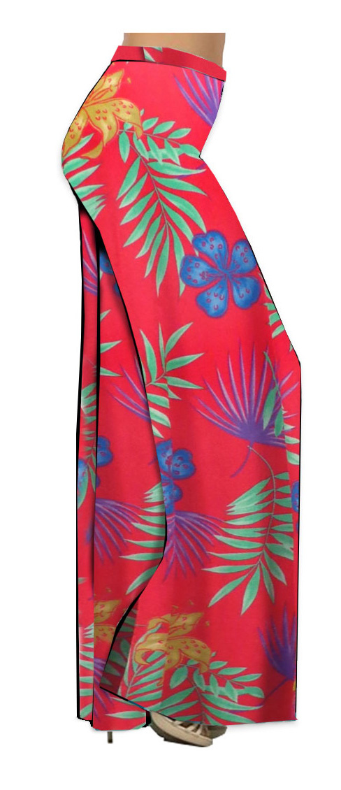 58e23c91d71 Red With Blue Tropical Flowers Slinky Print Plus Size   Supersize Palazzo  Pants - Tapered Pants - Sizes Lg to 9x