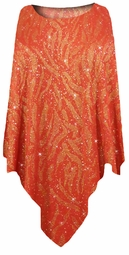 SOLD OUT! Red with Gold Zebra Glitter Slinky Print Plus Size Supersize Poncho