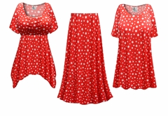 SOLD OUT! Red With White Polka Dots Glittery Slinky Print - Plus Size Slinky Dresses Shirts Jackets Pants Palazzo�s & Skirts - Sizes Lg to 9x