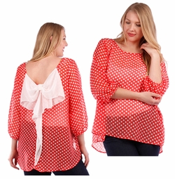 SALE! Red With White Polka Dots & White Bow 3/4 Sleeve Plus Size Sheer Top 4x 5x 6x