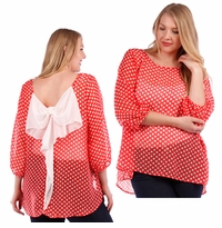 NEW! Red With White Polka Dots & White Bow 3/4 Sleeve Plus Size Sheer Top 4x 5x 6x