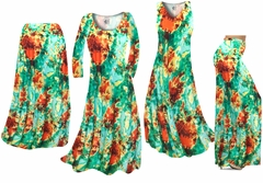 Red, Yellow, & Green Tie Dye Slinky Print - Plus Size Slinky Dresses Shirts Jackets Pants Palazzo�s & Skirts - Sizes Lg to 9x