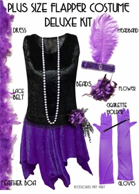 SALE! Plus Size Roaring 20's Purple & Black Flapper Halloween Costume - Plus Size & Supersize Lg XL 1x 2x 3x 4x 5x 6x 7x 8x 9x