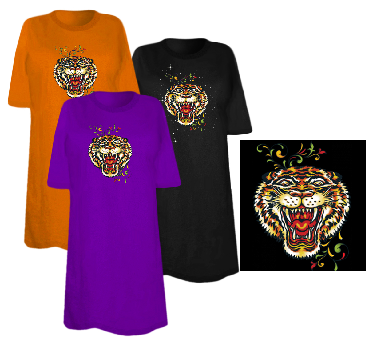 Sale Roaring Tiger Head Tattoo Plus Size Supersize T