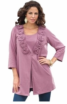 SOLD OUT! SALE! Rose Pink Pointelle Knit Rosette Long Sleeve Plus Size Cardigan Top Jacket 5x