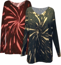 FINAL CLEARANCE SALE! Black w/ Green Rust or Tan Tie Dye Long Sleeve Plus Size T-Shirt 4x 5x