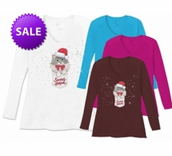 SOLD OUT! Santas Helper Kitten Plus Size White V Neck Plus Size Long Sleeve Shirt 5x - Christmas!