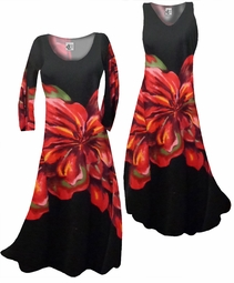 SOLD OUT! FINAL SALE! Scarlet Floral on Solid Black Print Slinky Plus Size & Supersize Cascading Princess Cut Dresses 2x