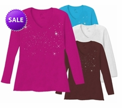 SOLD OUT! CLEARANCE! Plus Size Brown Starry Night Scatter Rhinestud on Plus Size V Neck Long Sleeve T-Shirt 5x