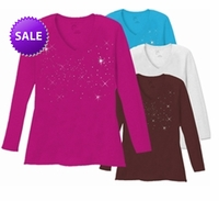 FINAL SALE! Starry Night Scatter Rhinestud on Plus Size V Neck / Round Neck Long Sleeve T-Shirt White Teal Raspberry Brown Lime Hot Pink Medium Purple 5x