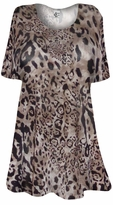 SOLD OUT! SALE! Semi Sheer Black & Brown Leopard Print Plus Size & Supersize Extra Long Coverup T-Shirts 5x