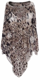 SOLD OUT! Semi Sheer Black & Brown Leopard Slinky Plus Size Supersize Poncho