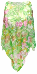 SALE! Semi Sheer Green & Pink Floral Plus Size Supersize Poncho