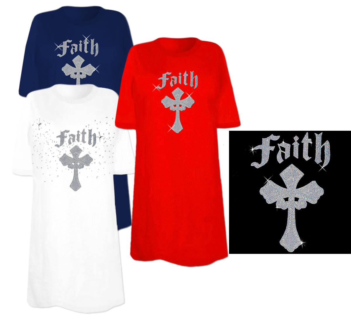 Sale Sequin Faith Cross Plus Size Supersize T Shirts S