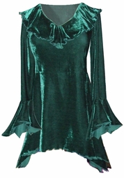 HOT! Sexy Crushed Velvet Babydoll Ruffle Plus Size & Supersize Top & Skirts 0x 1x 2x 3x 4x 5x 6x 7x 8x 9x Green - Black - Red - White