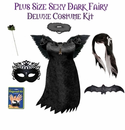 SALE! Sexy Dark Fairy Angel Plus Size & Supersize Halloween Costume and Accessory Kit! Lg XL 1x 2x 3x 4x 5x 6x 7x 8x 9x