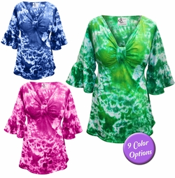 NEW! Sexy Low-Cut Tie Dye Cotton Lycra Flutter Sleeve Tops Plus Size Supersize 0x 1x 2x 3x 4x 5x 6x 7x 8x