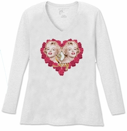 SALE! Sexy Marilyn Monroe Two Hearts V Neck / Round Neck Long Sleeve Plus Size Shirt 5x White Teal Raspberry Brown