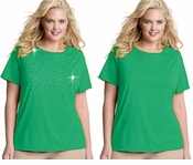 FINAL SALE! Just Reduced! Shamrock Green Round Neck Plus Size T-Shirt 2x 3x 4x