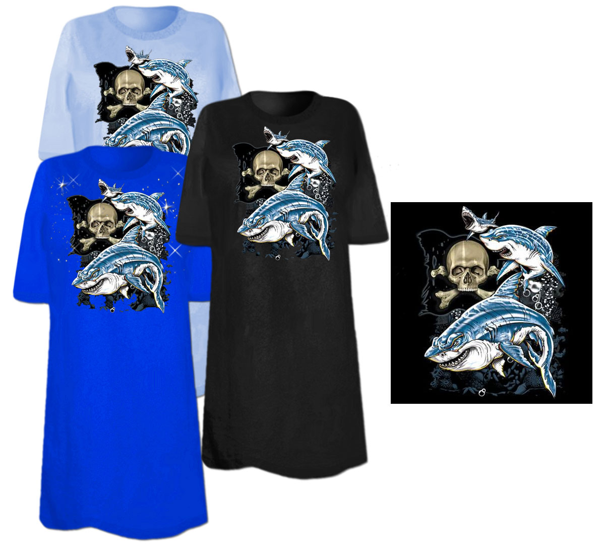 Sale sharks and skull plus size supersize t shirts s m for 3x shirts on sale