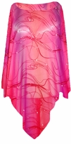 SOLD OUT! Sheer Red & Purple Gradient Swirl Glitter Plus Size Supersize Poncho