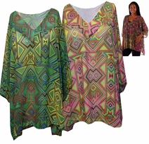 SOLD OUT! SALE! Sheer Triangle Tribal Magenta or Lime Green V Neck Plus Size Tops 4x 5x