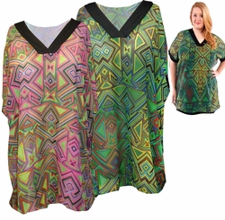 SALE! Sheer Triangle Tribal Magenta or Lime Green With Black Trim V Neck Plus Size Tops 4x 5x