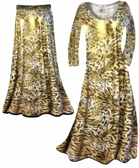SOLD OUT! Customizable Shimmer Gold & Brown Leopard Spots Print Semi Sheer Slinky Print Plus Size & Supersize Short or Long Sleeve Dresses & Tanks - Sizes Lg to 9x