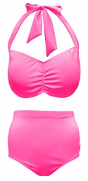 SOLD OUT! SALE! Hot! Fluorescent Shocking Pink 2 Piece Plus Size Halter Swimsuit Supersize 0x 1x 2x 3x 4x 5x 6x 7x 8x