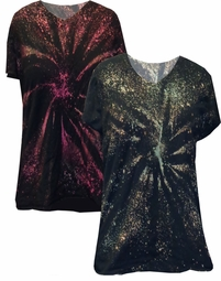 FINAL CLEARANCE SALE! Galaxy Space Black Short Tie Dye Burst Plus Size T-Shirts 3x