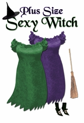 SALE! Short Sexy Witch Plus Size Costume Purple or Green Size Lg XL 1x 2x 3x 4x 5x 6x 7x 8x 9x