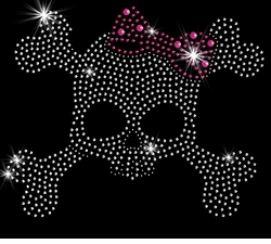 SALE! Skull & Crossbones With Pink Bow Sparkly Rhinestud Rhinestones Plus Size & Supersize T-Shirts S M L XL 2x 3x 4x 5x 6x 7x 8x 9x (All Colors)