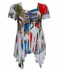 SOLD OUT!!!!!!!! Slinky Babydoll Plus Size Supersize Tops! Colorful White Sublimation Print! Sizes 4x 5x 6x