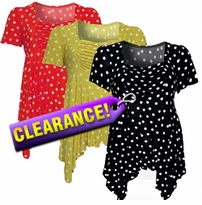 SOLD OUT! Slinky Babydoll Plus Size & Supersize Polka Dots Short Sleeve Top - Sizes 0x to 8x