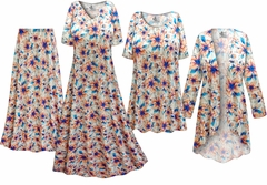Blue & Orange Floral Slinky Print - Plus Size Slinky Dresses Shirts Jackets Pants Palazzo�s & Skirts - Sizes Lg to 9x