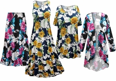 NEW! Roses Slinky Print - Plus Size Slinky Dresses Shirts Jackets Pants Palazzo�s & Skirts - Sizes Lg to 9x