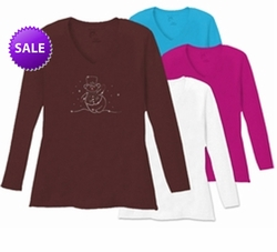 SOLD OUT! Smiling Snowman Rhinestones Long Sleeve Plus Size Shirt 5x White Teal Raspberry Brown 4x 5x