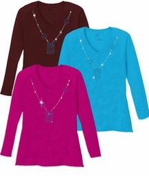SALE! Sparkly Rhinestud Blue & Silver Peace Sign Neckline V Neck/Round Neck Long Sleeve Plus Size Shirt Brown Black Purple 3x 4x 5x