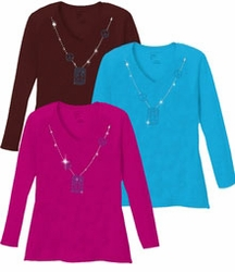 SALE! Sparkly Rhinestud Blue & Silver Peace Sign Neckline V Neck/Round Neck Long Sleeve Plus Size Shirt 4x 5x White Teal Raspberry Brown