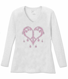 SALE! Sparkly Rhinestud Pink & Silver Dripping Peace Heart V Neck Long Sleeve Plus Size Shirt 5x White Teal Raspberry Brown Lime Hot Pink Medium Purple