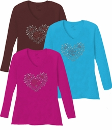 SALE! Sparkly Rhinestud Red & Silver Rose Heart Ivy V Neck Long Sleeve Plus Size Shirt 5x White Teal Raspberry Brown Lime Hot Pink Medium Purple